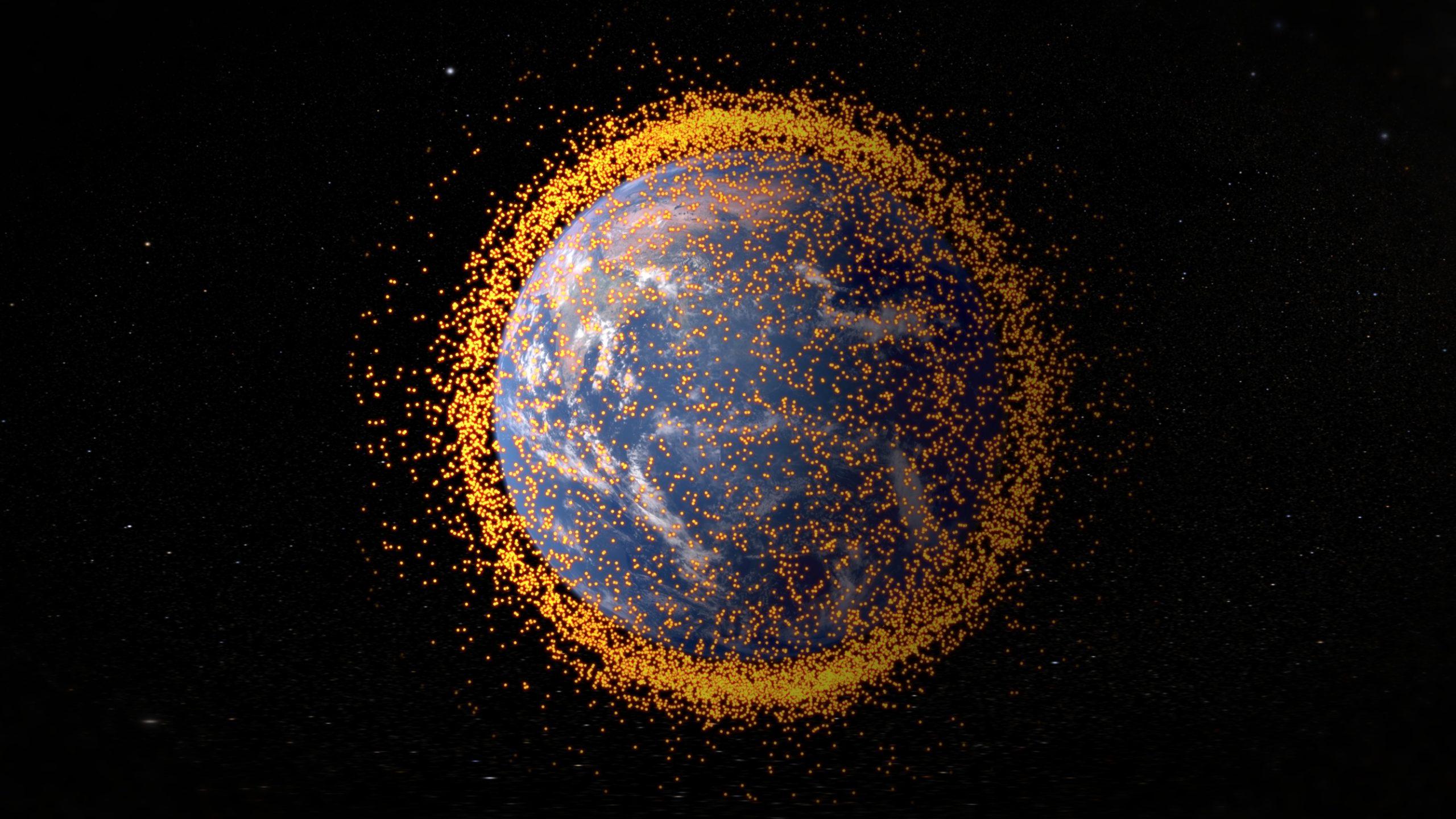 Detritos espaciais em órbita da Terra